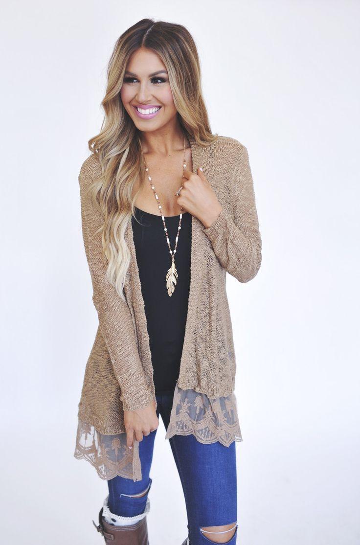 Mocha Lace Hem Knit Cardi - Dottie Couture Boutique