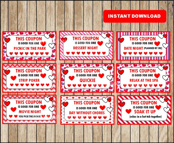 Printable Coupons for adults 40 different cards for