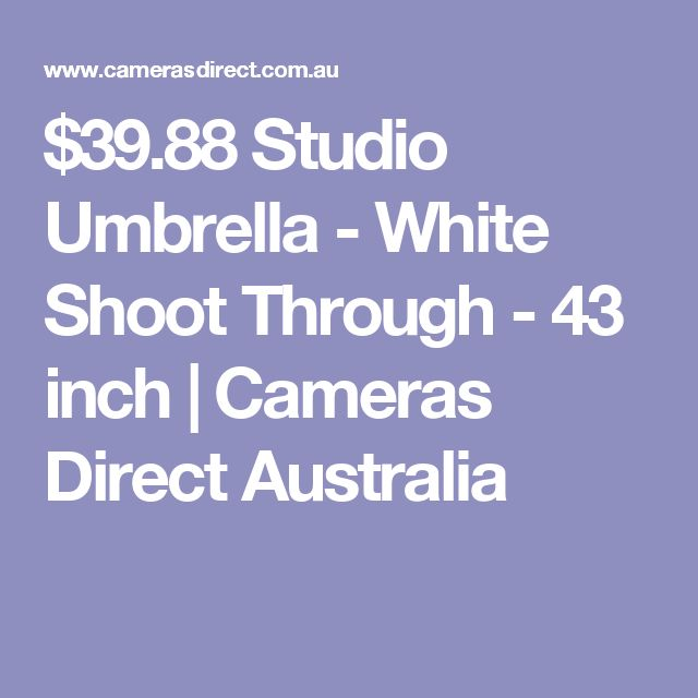 $39.88 Studio Umbrella - White Shoot Through - 43 inch   Cameras Direct Australia