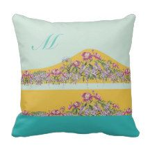 Cheerful Colorful Floral Pillow Print +Monogram