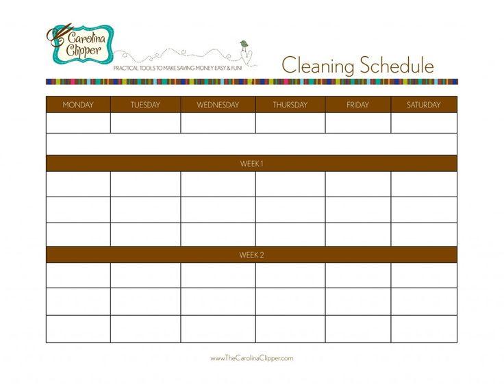 Free Printable Cleaning Schedule Blank JPEG