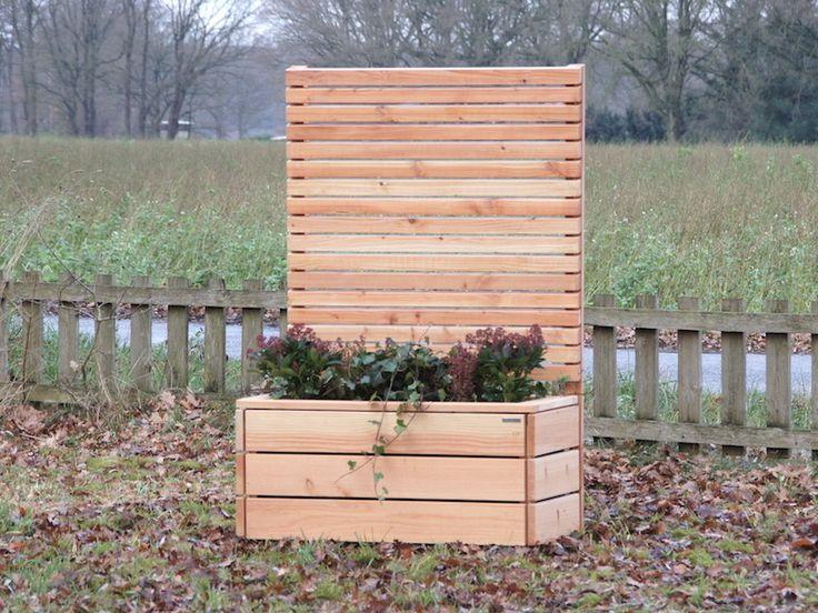 Sichtschutz mit Pflanzkasten Holz, Oberfläche Natur