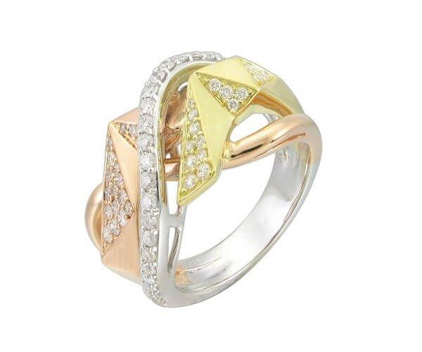 Bague de mariage 3 ors 18 cts et diamant. Anneaux entrelacés sertis de 61 brillants.