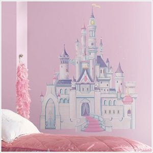 Large Disney Princess Wall Decals - Cinderella Giant Castle with Glitter Wall Mural -Removable Wall Decals for Decorating Nursery, Kids Room, or Playroom
