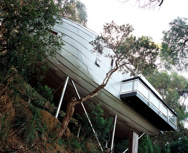 Zeppelin House   ::    Like azeppelin airship crash-landed in the Australian forest, Bellemo & Cat's 'Cocoon' is nestled artfully on a steeply sloping site.: Cocoon Houses, Cat, Sustainability Design, Led Zeppelin, Zeppelin Houses, Grand Design, Trees Houses, Architecture Interiors, Treehouse