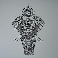 Indische Olifant Mandala Muursticker Aziatische Interieur Etnische Yoga Patroon Vinyl Decal Vreedzame Ornament India Cultuur Muurschildering