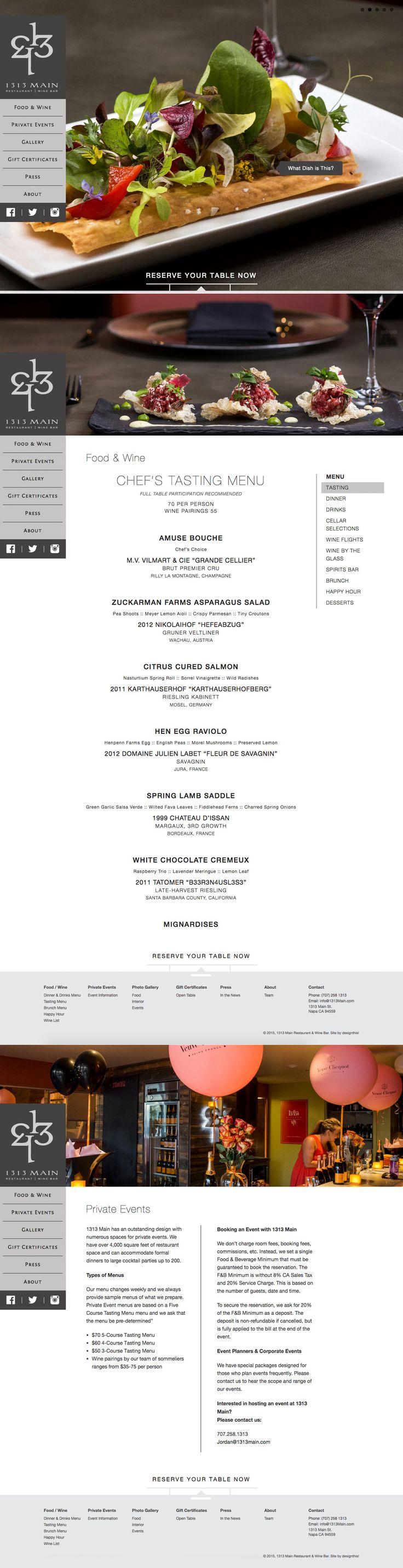 1313 Main Restaurant & Wine Bar   Website   by designthis!
