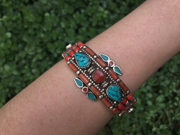 Tribal turquoise & coral bracelet $19.95   #tribalbracelet #gypsyjewelry #hippiejewelry #bohobracelet