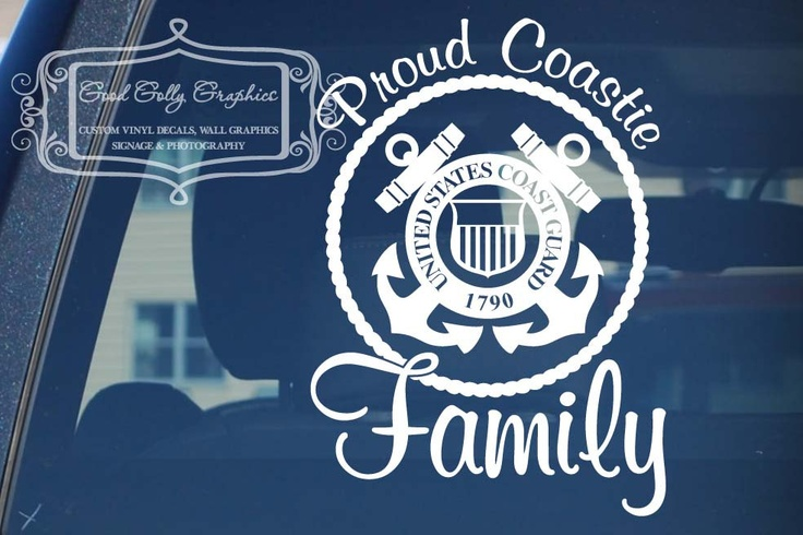 Proud Coastie Wife Coast Guard  vinyl vehicle decal. $12.00, via Etsy.