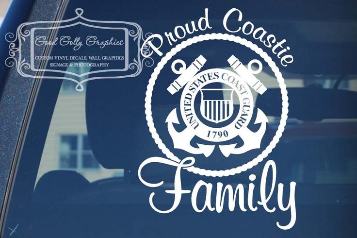 Proud Coastie Wife Coast Guard  vinyl vehicle decal. $12.00, via Etsy.