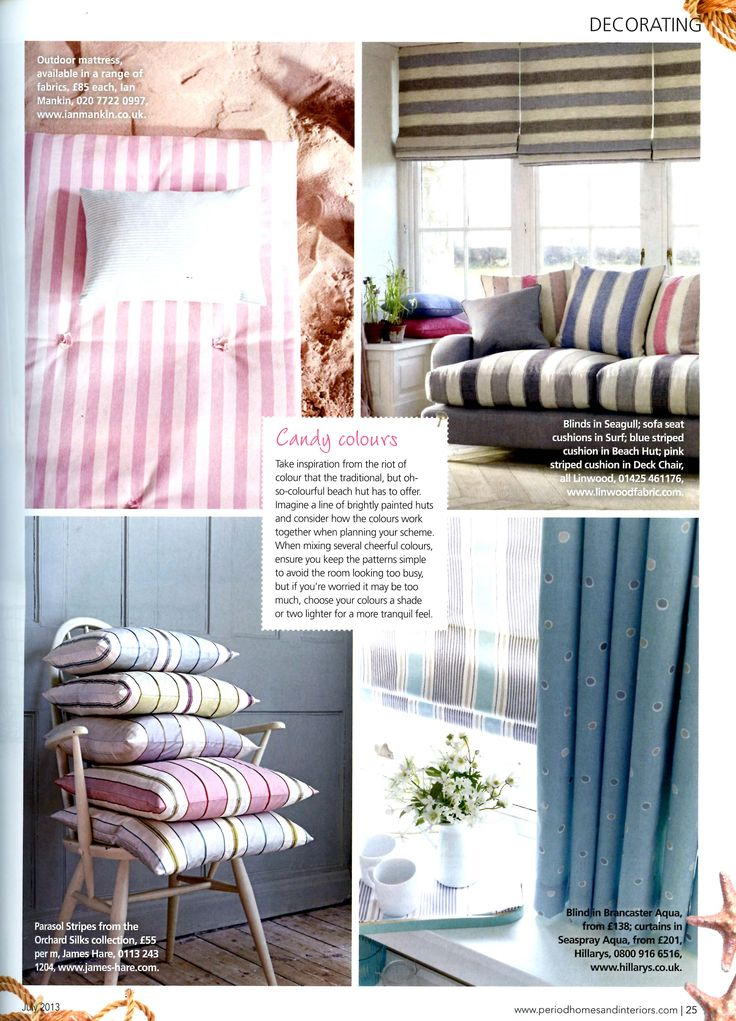 Beach hut inspiration: Parasol Stripes from the Orchard Silks collection by http://www.james-hare.com Period Homes & Interiors July 2013
