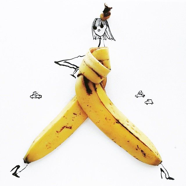 Fashion Illustrations Utilize Colorful Food Items for a Finishing Touch - by artist Gretchen Röehrs