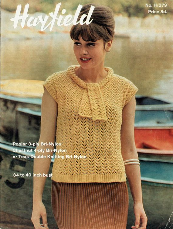 PDF Vintage 1960s Womens Ladies Knitting Pattern Pussy Bow