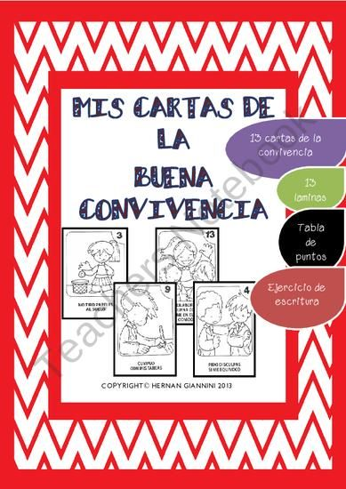 """""""Las Cartas de la Buena Convivencia"""" is a great resource for the Spanish teachers when starting the Year and they have to establish rules and teach the Good manners in the class."""