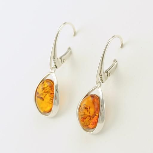 Sterling Silver Amber Sphere Dangle Leverback Earrings
