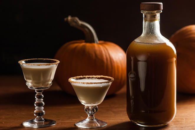This recipe for homemade pumpkin spice liqueur is made with aged rum and flavored with pumpkin purée, brown sugar, and warm spices.