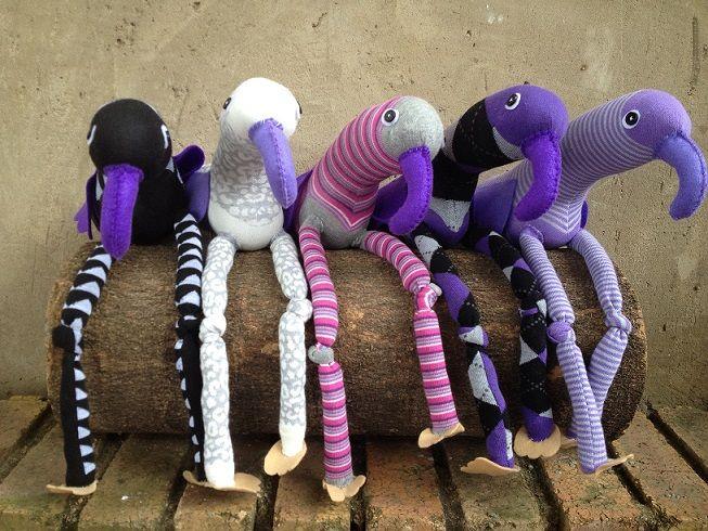 Purple Sock Birds R100 each https://www.facebook.com/snugglebuggoodies