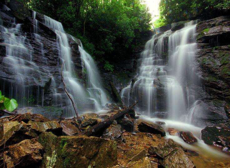 Soco Falls Waterfall Between Maggie Valley And Cherokee