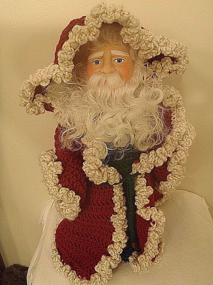 "Santa Claus Hand Made Crochet Robe 14"" Fibre Craft Billie Pepper Music 1990 Xmas"