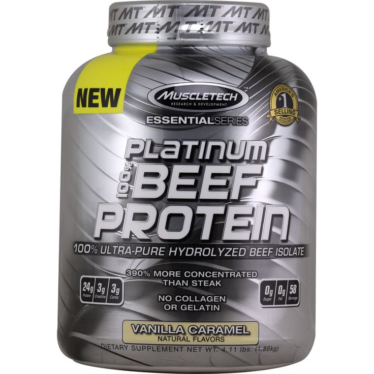 MuscleTech Essential Platinum Hydrolyzed Beef Protein Vanilla Caramel 4 lbs | Regular Price: $81.99, Sale Price: $55.99 | OvernightSupplements.com | #onSale #supplements #specials #MuscleTech #ProteinPowder  | Platinum 100 Beef Protein100 Ultra Pure Hydrolyzed Beef Isolate390 More Cocentrated Than SteakNo Collagen or Gelatin24g Protein3g Creatine3g Carbs0g Sugar0g Fat28 ServingsPlatinum 100 Beef Protein delivers only high quality isolated beef protein thats undergone advanced
