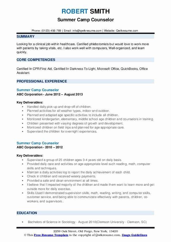 Camp Counselor Resume Description Lovely Summer Camp Counselor Resume Samples In 2020 Jobs For Teachers Kindergarten Worksheets Printable Job Resume