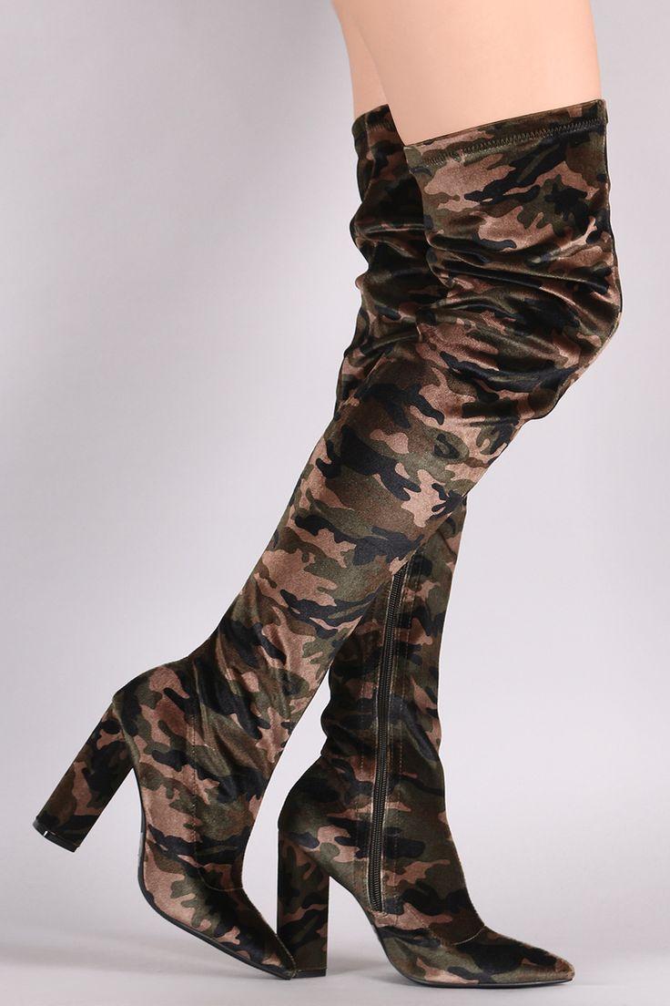 Qupid Velvet Camouflage Chunky Heeled Over-The-Knee Boots   UrbanOG