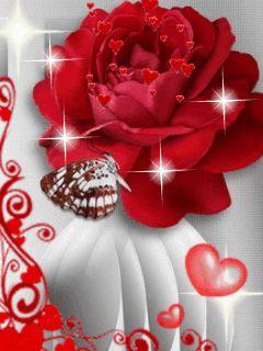 Imágenes románticas de rosas rojas de amor con movimiento y brillo rosa roja brillante junto a una mariposa y corazoncitos en movimiento