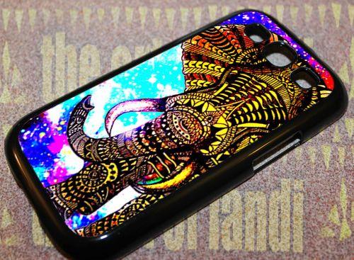 Elephant Aztec Gold Nebula For Samsung Galaxy S3 Black Rubber Case