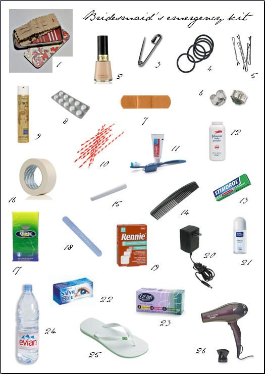 I keep most of this in my bridesmaid's emergency kit, but good thoughts to add the earring backs, eye drops, and chalk