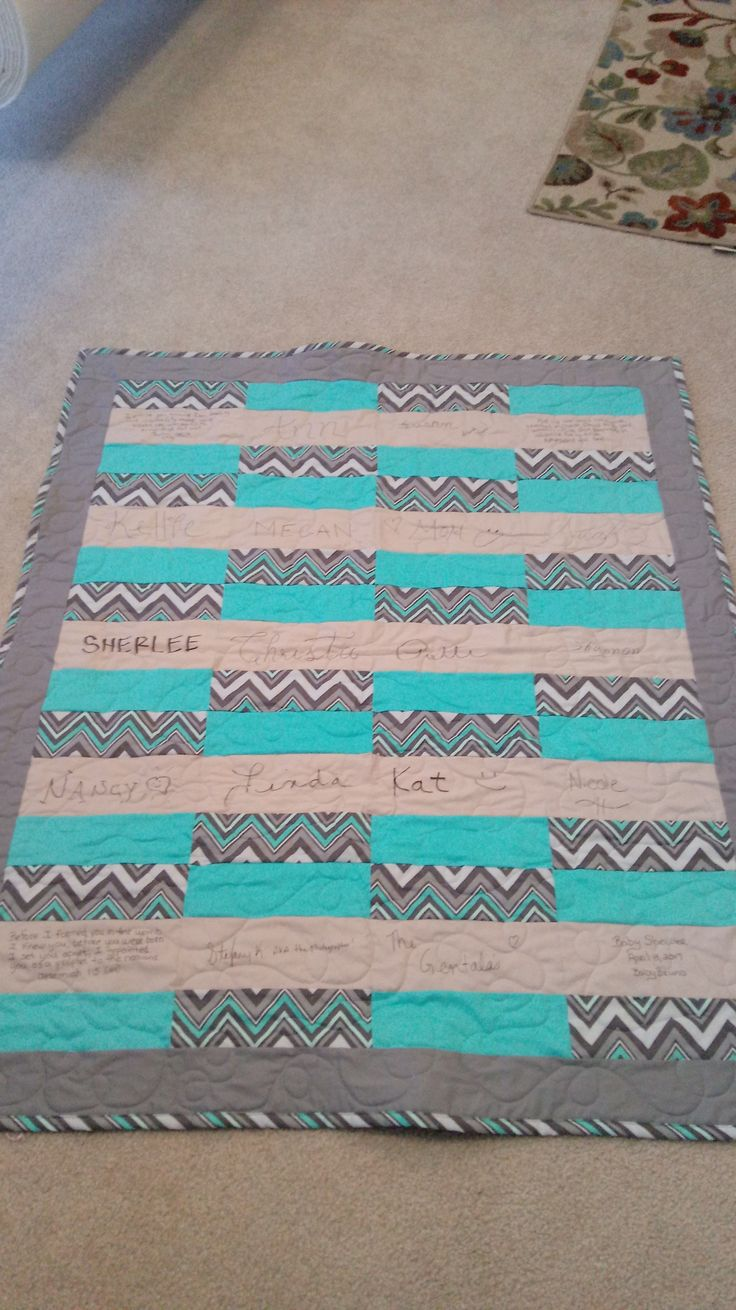 Baby Shower Signature Quilt.  Made by Susan Clark.  April 2017