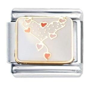 Heart of Hearts Design Enamel Italian Charm - fits Nomination Classic Bracelet - (Exclusive to Amazon)
