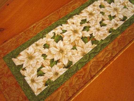 Christmas Table Runner Poinsettias Quilted by PatchworkMountain