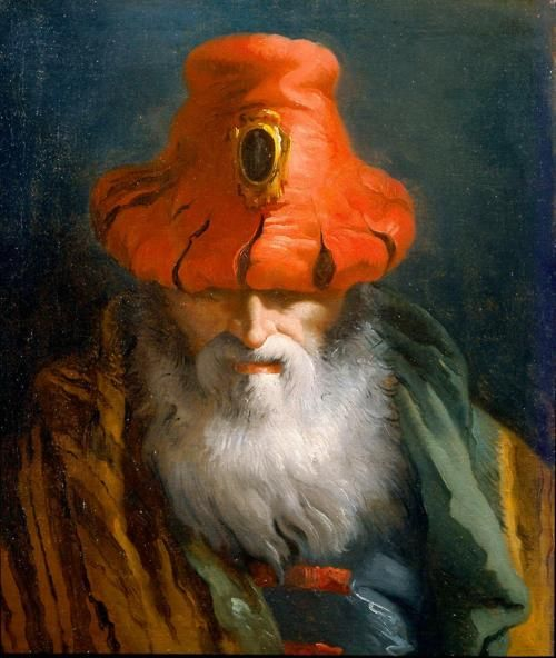 Tiepolo Domenico ~ Head of a Philosopher with a Red Hat (Oil on canvas)