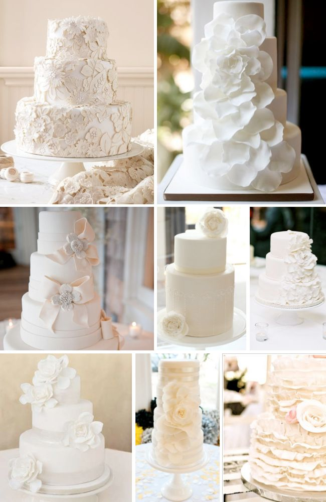 Tons of cool wedding cake pictures here. I especially love the classic white wedding cakes!