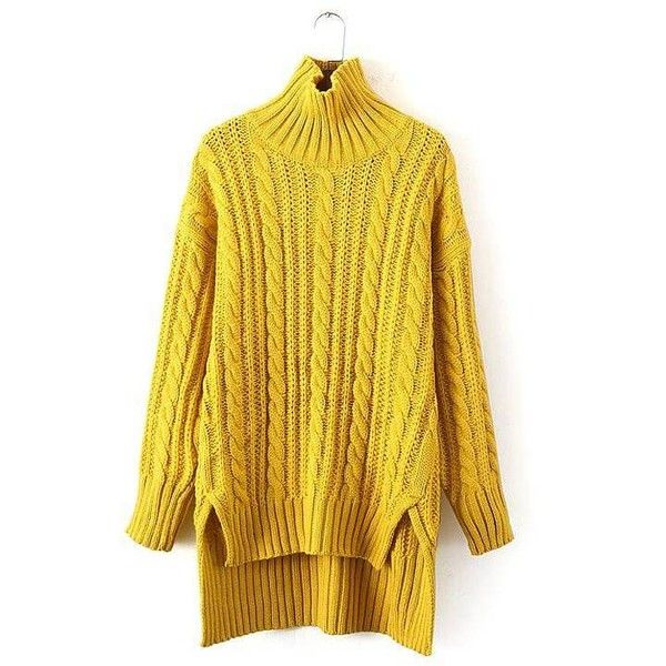 Yoins Yoins Longline Cable Knit Sweater (6160 RSD) ❤ liked on Polyvore featuring tops, sweaters, sweaters & cardigans, yellow, longline sweater, layered tops, chunky cable knit sweater, slouch sweater e high neck sweater