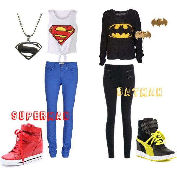 """Superman VS. Batman"" by gummibearz-7 on Polyvore me and my Bestie should wear this stuff"