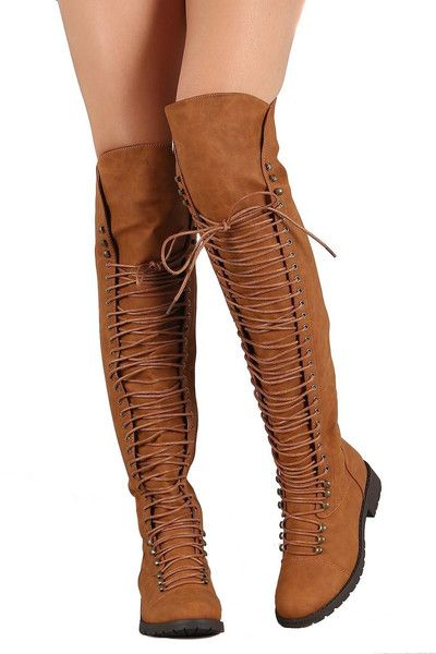 Over the Knee Lace Up Riding Faux Leather Thigh High Combat Boots Tan