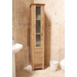 Mobel Oak Solid Oak Closed Bathroom Unit Tall