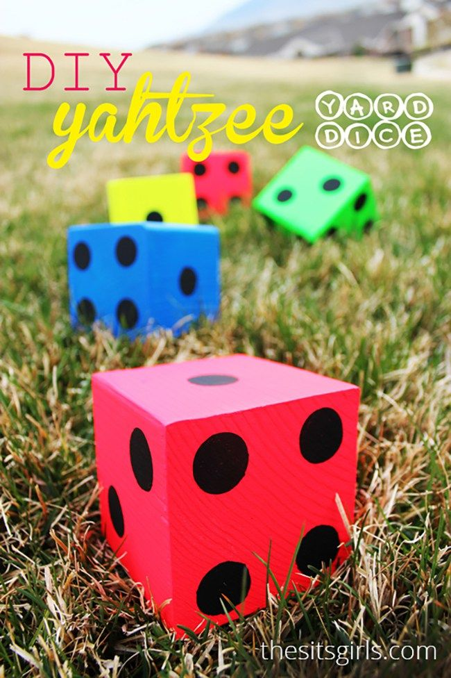 DIY Projects - Outdoor Games - DIY Giant Dice Yard Yahtzee and Printable Score Cards via The Sits Girls - perfect for backyard cookouts - barbecues and outdoor parties