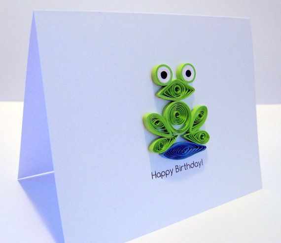Happy Birthday Quilled Frog Card with Envelope por CloudyAfternoon