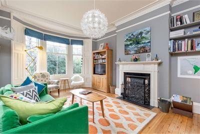 Edinburgh georgian tenement Lounge Colourful green sofa blue blinds grey walls and orange rug Fireplace Ikea light dandelion