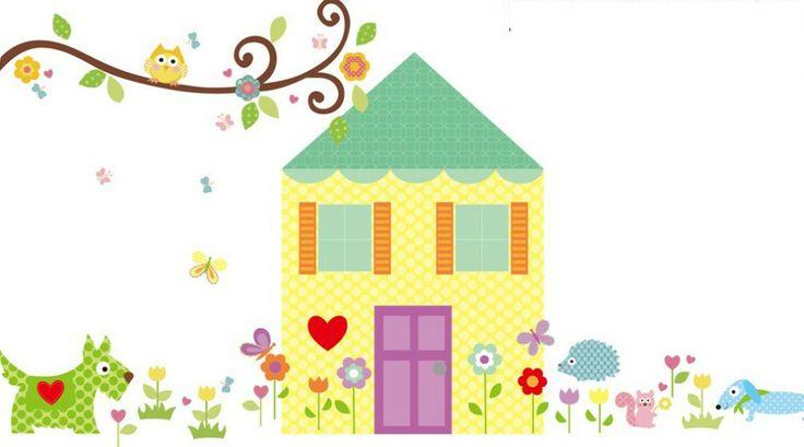 Preciosa pegatina infantil con forma de casita perfecta for Pegatinas habitacion infantil