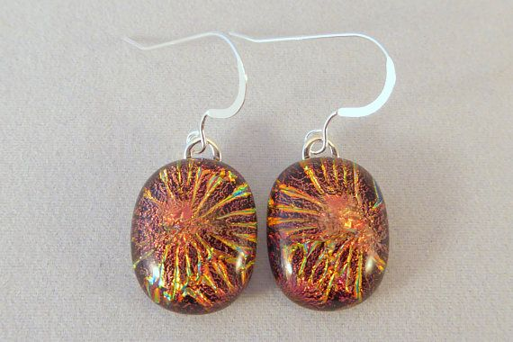 Pendientes de vidrio fundido dicroico oro naranja