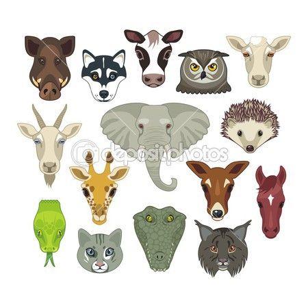 Zvířecí hlavy sada — Stocková ilustrace #32991489