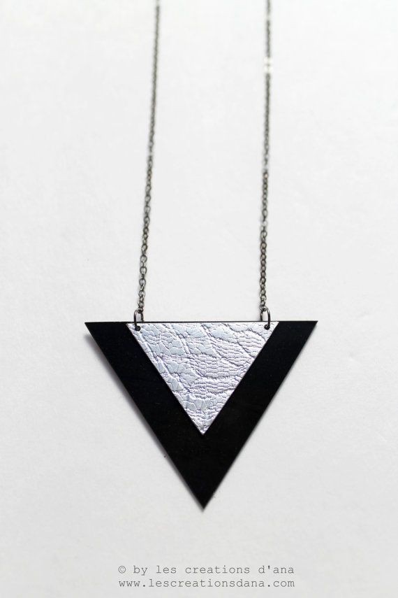 modern geometric jewelry, vinyl record and aluminum necklace, triangle necklace, elegant jewelry,minimalist jewelry,black and silver pendant on Etsy, £25.86