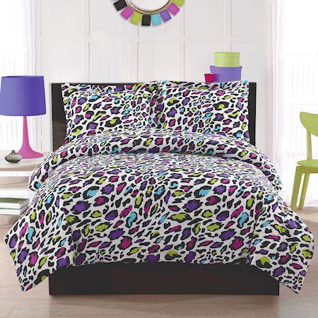 Black white leopard animal print teen girl bedding twin full queen comforter set purple rainbow - Teen cheetah bedding ...