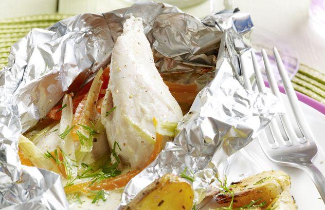 Papillot met kip en groenten