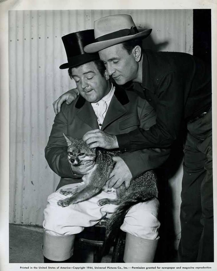 A Behind The Scenes Shot Of Comic Legends Bud Abbott And Lou Costello Foxy Friend