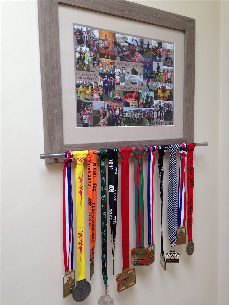 Running or marathon keepsake board and photos for medals