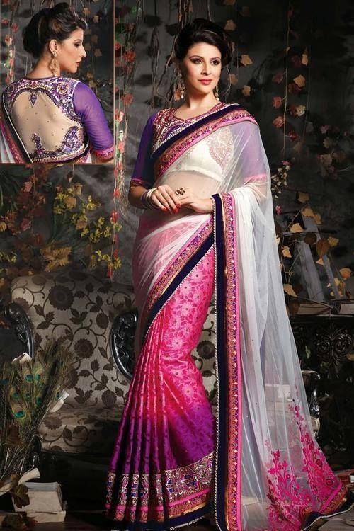 A lovely mixture of vibrant colors blend with beautifully designed blouse back makes this Saree look gorgeous!! http://ethnicstation.com/shop/women/sarees/net-sarees/off-white-pink-colour-viscose-saree.html
